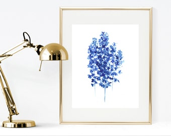 Watercolor painting printable art, Delphinium, blue wall decor, Instant download, blue flower watercolor instant print, abstract flowers art