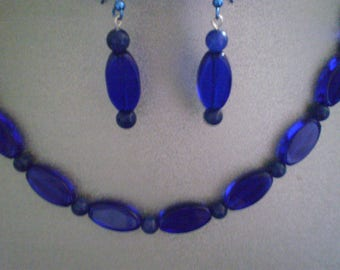 COBALT BLUE AVENTURINE and Glass Matching Necklace and Earrings