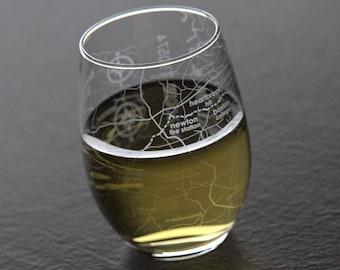 Boston 26.2 Marathon Map Stemless Wine Glass