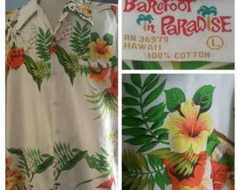 Barefoot in paradise 70s Hawaiian shirt.
