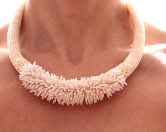 Ivory necklace  Bib necklace Embroidery necklace Crochet necklace Beaded necklace Wedding necklace Crochet necklace Сhoker knit necklace
