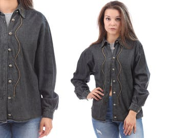 Faded DENIM shirt 1980s Black Western Distressed Button Down Gold Embroidery Collar Shirt Cowboy Cowgirl 80s Grunge Top Medium