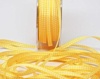 Solid Check Ribbon -- 3/16 inch -- Sunshine Yellow White