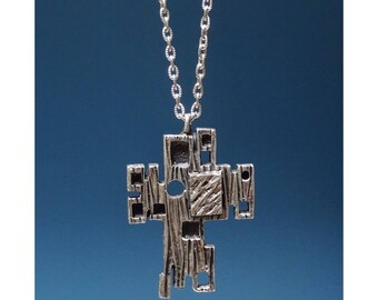 Robert Larin Silver-Plated Pewter Cross Necklace - 1970s Modernist / Brutalist Jewelry - Made in Canada