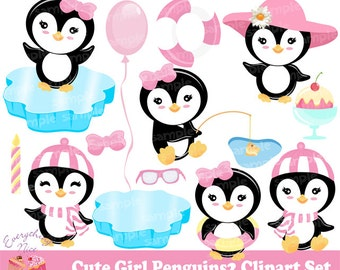 Cute Girl Penguins2 Clipart Set