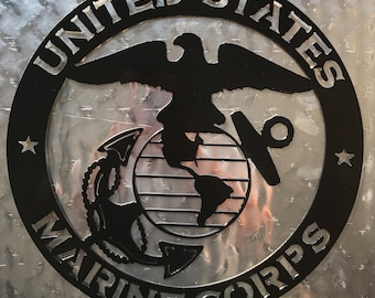 Offically Licensed United States Marine Corps Steel Metal Globe and Anchor Sign USMC (USMC1)