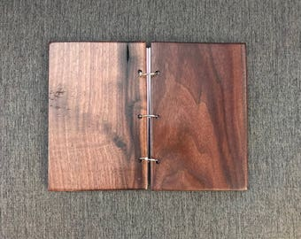 6 X 9 Professional 100% WALNUT Wooden Notebook Journal Portfolio with 3 Binder Rings