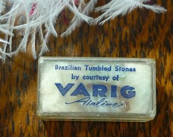 Varig Airline Promotional Giveaway Token Brazilian Tumbled Stones