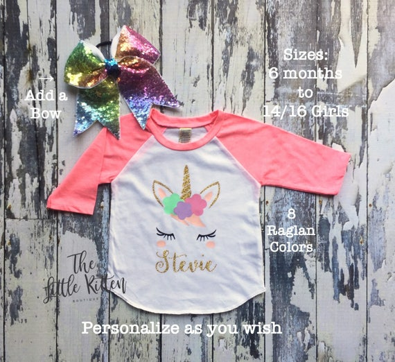 Girls Unicorn Shirt, Unicorn Shirts, Unicorn Girls Birthday Shirt, First Birthday Shirt, Unicorn Birthday Party, Personalized Unicorn raglan