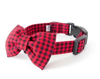 Red Dog Collar, Buffalo plaid dog collar, Red plaid dog collar, red christmas dog, red cat collar, plaid cat collar, holiday collar