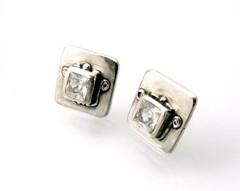 Sterling, Post Earrings, CZ, CZ Earrings, CZ Studs, Cz Posts, Stud Earrings, Silver Studs, Silver Posts, White Cz, Square Earring, 1159a