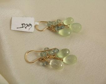 Prehnite briolette earrings 1 1/2 inch with fluorite  14k gold filled gemstone handmade MLMR item 605