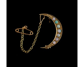 Vintage Opal Mooncrest Brooch 9ct Gold With Safety Chain, Vintage Jewellery, Natural Opal Gemstone, Fiery Opals, Fine Jewellery, Gold Brooch