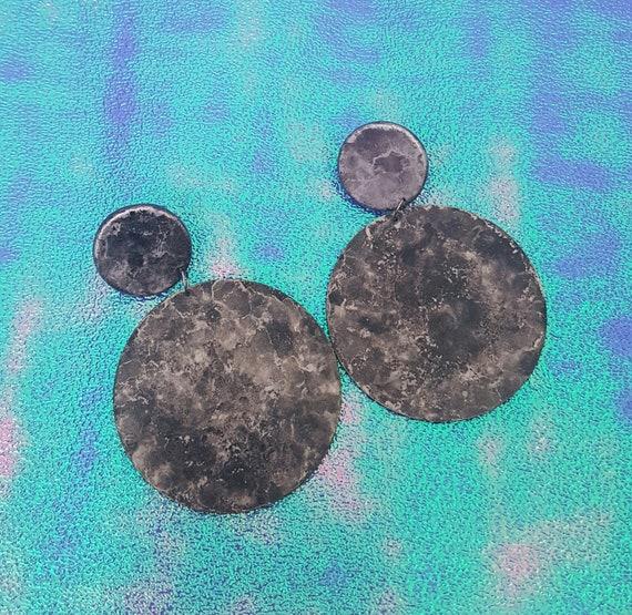 Vintage Moon Dangly Statement Earrings - Large 80s 90s Funky Costume Jewelry Drop Earrings - RARE Grey Eighties Big Fun Lunar Earrings