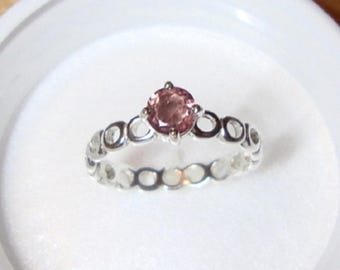 Pink Tourmaline Ring  Circles of love -sterling silver 1/2 ct natural antique pink tourmaline Custom Made  in USA by me - OCTOBER