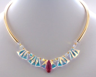 Swarovski Crystal Necklace, Gold Necklace, Cubic Zirconia Jewelry, Fuchsia, Event Jewelry, Gold, Iridescent, Modern, Luxury, Jewellery