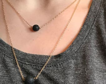 2 Stone Diffuser Necklace, Essential OIl jewelry, Lava Rock, Double Layer Chain, Aromatherapy, Gold Chain, Gifts under 20, Layering Necklace