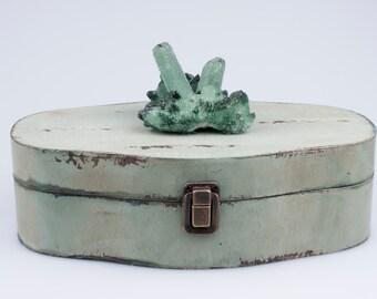 Green Quartz Cluster Box- Hand-made