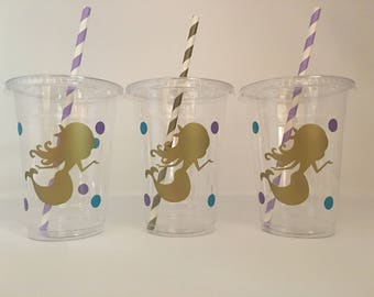 Mermaid party cups, Mermaid Birthday Party Cups, Mermaid Baby Shower Cups, Under the Sea Party cups