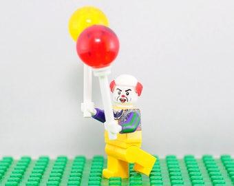 IT Custom minifigure (Lego Compatible) Pennywise the Dancing Clown Stephen King Horror Shapeshifter Bob Robert Gray Halloween Christmas Gift