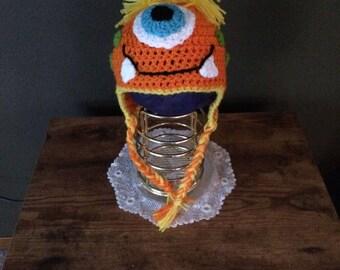 Little Orange Monster Ear Flap Hat