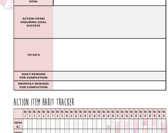 Goal Setting Planner Insert with Habit Tracker! Resize to fit any planner