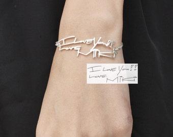 Actual Handwriting Bracelet - Signature Bracelet - Memorial Personalized Jewelry - Keepsake Jewelry - Mother Gift