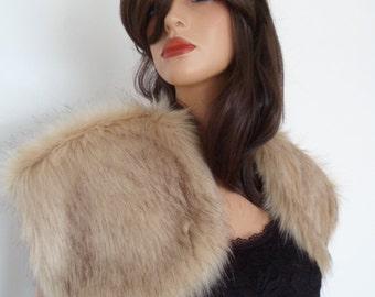 champagne fur bolero, beige fur wrap, fawn faux fur, bridal shrug, brown tint, shawl, stole