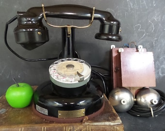 RECONDITIONED 1924 Antique French BCI Paris Telephone. Vintage Desk Rotary Dial Phone