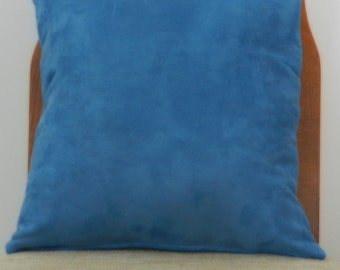 Microsuede Pillow Cover, Solid Cerulean Blue Home Dec Fabric, 16 x 16 and 18 x 18 inches with zipper