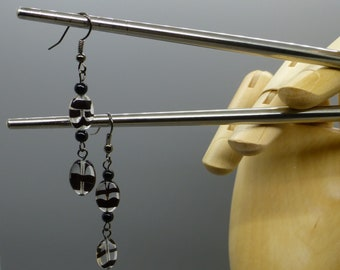 Abstract Striped Glass Dangle Earrings