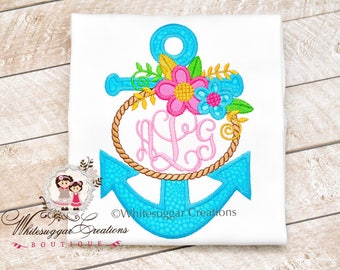 Girls Floral Anchor Shirt - Custom Monogrammed Sailing Shirt Monogrammed Outfit - Anchor Outfit - Personalized - For Baby Girls