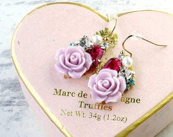 Pink rose sparkle earrings, Pink Crystal earrings, Gift for her