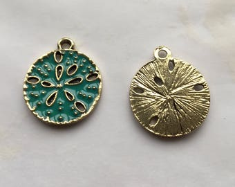 Sand Dollar Charms Gold Plated Green Turquoise Enamel