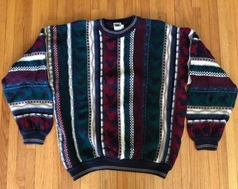 Vintage 90s Mickey Mouse Disney 3D Coogi Style Textured Sweater. Size XL