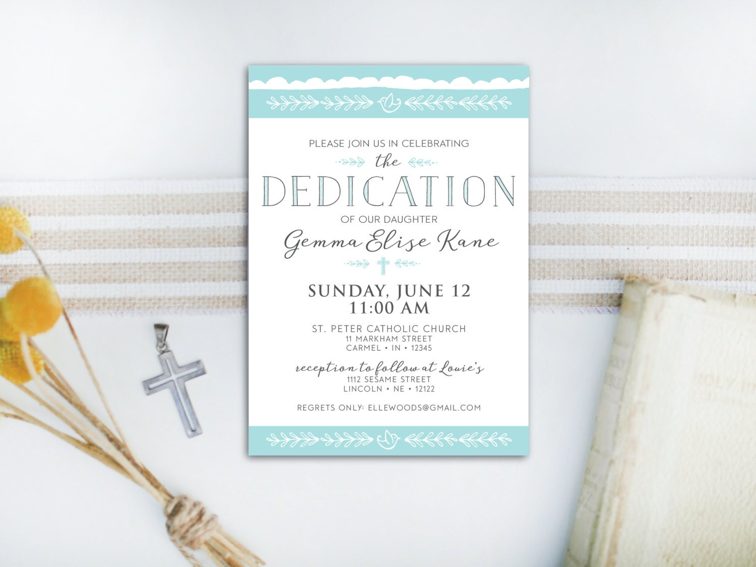 INSTANT DOWNLOAD dedication invitation / baby dedication