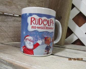 Vintage Rudolph  the Red Nosed Reindeer Coffee Cup Mug by Sherwood Santa Hermy Elf