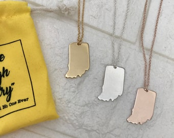 Indiana Necklace [free necklace bag] IN Necklace. Indiana State Necklace. Indiana Silhouette. Indiana Jewelry. Rose Gold Indiana Hoosier