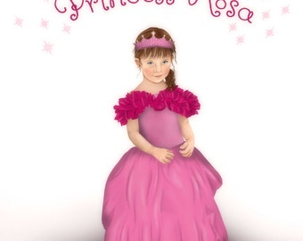 Little Girls Room Decor, Nursery Prints, Nursery Wall Art, Custom Portrait as a Princess with Personalised Name