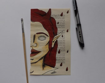 Upcycled book page Devil within her elf