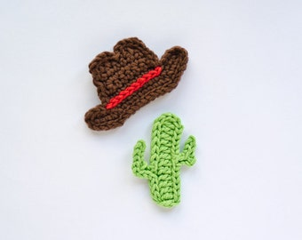 Instant Download - PDF Crochet Pattern - Cowboy Hat and Cactus Applique - Text instructions and SYMBOL CHART instructions