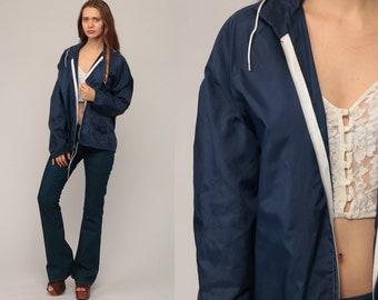 Hooded Windbreaker Jacket Hoodie Jacket 70s Jacket Navy Blue Hood Retro 80s Vintage Thin Lightweight Hipster 1970s Medium Large