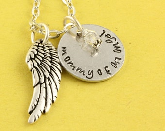 Mommy of an Angel Necklace - Birthstone Necklace - Miscarriage Necklace - Memorial Jewelry - Angel Baby Necklace - Mother's Day Gift For Mom