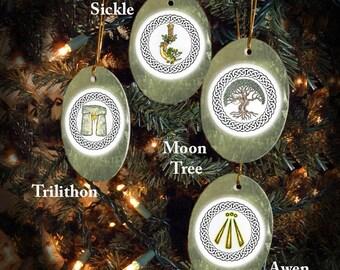 Set of Four Druid Symbols Alban Arthan,/Winter Solstice Ornaments