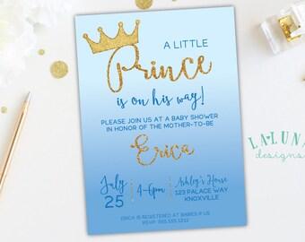 Prince baby boy shower invitation printablevintage blue prince baby shower invitation little prince baby shower prince invitation prince theme blue ombre invitation gold glitter boy shower filmwisefo