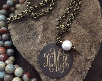 "30"" Engraved Bronze Long Necklace-Monogram Necklace-Personalized Necklace"