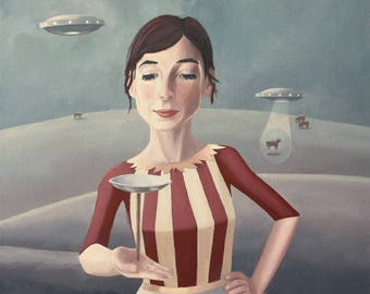 Flying Saucers. print of an original oil painting