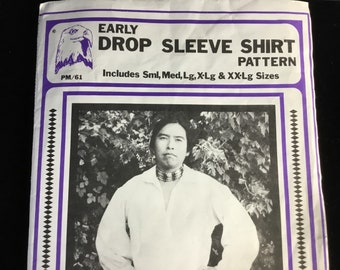 Pattern~Costume~Early Drop Sleeve Shirt~Eagle's View~Size 36-50~Re-enactment~Theater~Western~Frontiersman~Halloween~