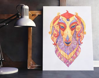 Saluki Totem Print, Saluki Spirit Animal Art, Saluki Art Print, Colourful Saluki print, Saluki print, Sighthound art print