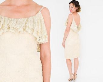 60s Creme Floral Lace Ruffle Dress | Low Back Spagetti Strap Sheath | Wiggle Party Dress | Mignon | Small
